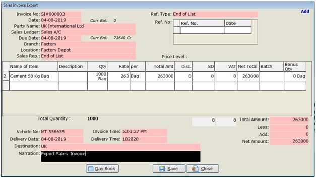 Export-Sales-Invoice